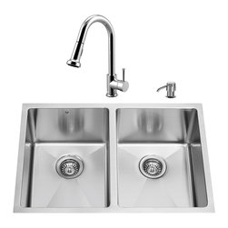 """VIGO Industries - VIGO All in One 29-inch Undermount Stainless Steel Double Bowl Kitchen Sink and - Modernize the look of your entire kitchen with a  VIGO All in One Kitchen Set featuring a 29"""" Undermount kitchen sink, faucet, soap dispenser, two matching bottom grids and two sink strainers."""