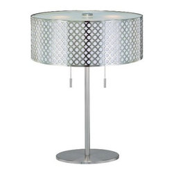 Lite Source - Lite Source LS-21519PS Netto Table Lamp - Lite Source LS-21519PS Netto Table Lamp This Table Lamp from the Lite Source Netto Collection, with its Polished Steel body and Net Metal Shade With White Polished Steel Back, will add style to any home. Lite Source Inc. remains true to its commitment to provide the largest selection of fashion forward lighting that is always in style. From accent lighting and desk lighting to table lamps and ceiling lighting, Lite Source is sure to have a lighting fixture that will fit your lighting needs.Dimensions: 11.5″ x 18″ x 17.75″.