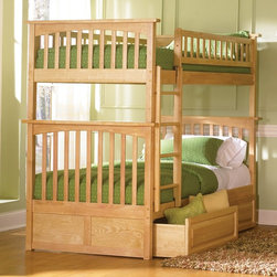 Atlantic Furniture - Columbia Twin Bunk Bed w Raised Panel Bed Dra - NOTE: ivgStores DOES NOT offer assembly on loft beds or bunk beds. Includes upper and lower panels, rails, clip-on ladder, 2 slats and raised panel drawers. Mattress not included. Solid hardwood Mortise & Tenon construction. 26-Steel reinforcement points. Made of premium, eco-friendly hardwood with a 5-step finishing process. Designed for durability. Guard rails match panel design. Meet or exceed all ASTM bunk bed standards, which require the upper bunk to support 400 lbs.. Pictured in Natural Maple finish. 1-Year manufacturer's warranty. Clearance from floor without trundle or storage drawers: 11.25 in.. 74 in. L x 22 in. W x 12 in. H. Raised panel drawers: 74 in. L x 24.38 in. W x 12 in. H. Bunk Bed Warning. Please read before purchaseThe Columbia bunk bed features a classic Mission style design with subtle curves and solid post construction.