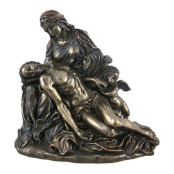 PIETA Bronzed Finish Statue Jesus Michelangelo - Pieta, by Michelangelo, depicts the body of Jesus in the arms of His mother Mary after the Crucifixion. One of the most famous religious statues, the original is in St. Peter`s Basilica in The Vatican. The statue stands 8 inches tall, is 8 1/2 inches wide and 5 3/4 inches deep. Made of cold cast resin, it has a metallic bronze finish to give it the look of metal, has hand-painted accents and shows incredible detail.