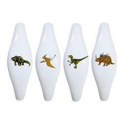 Carolina Hardware and Decor, LLC - Set of 4 Dinosaur T-Rex Ceramic Pull Handle, Cabinet Pulls - New ceramic cabinet, drawer, or furniture pull with mounting hardware included. Pull has standard three inch centers.  Can be wiped clean with a soft damp cloth. Great addition and nice finishing touch to any room!