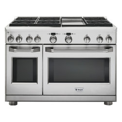 "GE Monogram 48"" professional range with six burners and a griddle - A Monogram professional range delivers restaurant-caliber performance with up to 126,000 BTUs of total cooking power. Each sealed, dual-flame stacked burner offers a full spectrum of simmer temperatures, from 140 to 195 degrees F, along with a maximum heating capacity of 18,000 BTUs and infinite settings in between. High-output grilling and griddle capabilities add important cooking versatility.An advanced baking system combines European reverse-air convection technology and six heating elements to promote even air and heat circulation within the range. Electronic controls allow precise adjustment of preheating and baking functions for superb results."
