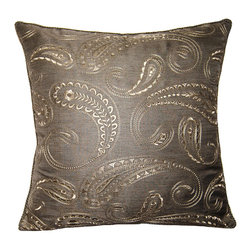Square Feathers - Mayfair Pillow, Paisley Pillow - The gunmetal boteh puts a different view on the paisley pattern design. Steering away from your typical paisley colors. This pillow is tied together with a grey trim.