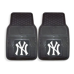 Sports Licensing Solutions - MLB New York Yankees Vinyl Car Mats (Set of 2) - Premium all-weather car mats are made especially for the baseball lover. They have raised outer rims and multi-level channels, plus mats have skid-resistant surfaces with non-slip grip backings.