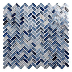 "Glass Tile Oasis - Pacific Blue Herringbone Blue Pool Glossy Glass - Sheet size:  Approx .99 Sq. Ft.     Tile Size:  1/2"" x 1""     Tiles per sheet:  64     Tile thickness:  1/4""     Recycled Components:   70%     Sheet Mount: Paper Face     Sold by the sheet    -  Waterfall glass tiles are each a one of a kind work of art. Each style features complimentary colors  shot through with transparent layers of contrasting colors. Mosaics are stacked together creating a unique repeating pattern.Waterfall are hand-poured and will have a certain amount of variation and variegation of color  tone  shade and size. Additionally  you will notice creases  wrinkles  shivers  waves  bubbles topped off with a natural surface to catch all forms of light for a brilliant effect. These characteristics of natural glass only serve to enhance the final beauty of the installation."