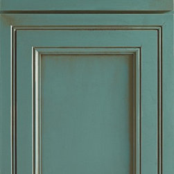 Decora Brayden Manor Turquoise Cabinet Door - Say hello to Braydon Manor, a big favorite with Decora customers. Considered transitional in style, Braydon Manor can easily be dressed up or down to match a motif. Full overlay wood door, 5-piece mitred solid reverse raised panel door, Wide rail design with faux inset appearance, 5-piece mitred drawer front, 7 wood types (Shown here in Maple Turquoise)