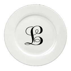 Caroline's Treasures - Letter L Initial Monogram Script Ceramic White Dinner Plate CJ1057-L-DPW-11 - Letter L Initial Monogram Script Ceramic White Dinner Plate CJ1057-L-DPW-11 Heavy Round Ceramic Plate White with Artwork . 11 inches in diameter. LEAD FREE, dishwasher and microwave safe. The plate has been refired over 1600 degrees and the artwork will not fade or crack.
