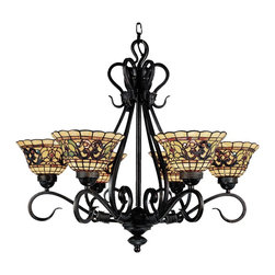 Elk Lighting - Elk Lighting Tiffany Buckingham Buckingham Traditional Tiffany Chandelier X-AV-6 - Add the comfort of the castle to your own castle with the Tiffany Buckingham traditional chandelier. The scintillating design recalls the premium sophistication of the castle and it is sure to fascinate and create conversation. The bright and friendly glow looks wonderful in your apartment, kitchen, or dining room. The vintage antique finish is made to last and is sure to impress.