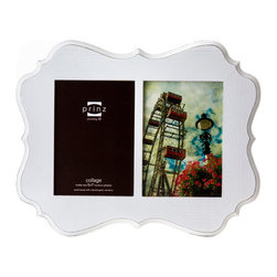 """Prinz - Annabelle White 2 Picture Collage Frame (5x7) - Wood frame with ash wood veneer, sanded edges, wall hangers. 2-opening (holds 5x7"""" photos)"""