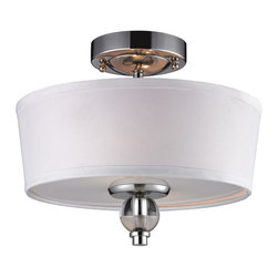 ELK - ELK 31284/2 Semi Flush - This Series Has Gently Arching Arms With Clear Glass Spheres Encircling The Mid-Century Modern Center Column. The Body Has Polished Chrome Metal Elements That Taper Inward To A Large Clear Glass Sphere Core.