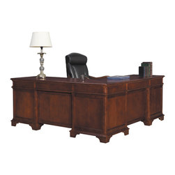 Hekman - Home Office Weathered Cherry Executive L Desk - This is a beautiful piece of top-quality furniture that's perfect for your Man Cave, Game Room, Office or anywhere you would like to decorate and show your personal style.