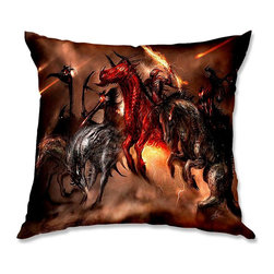 DiaNoche Designs - Pillow Linen - Alex Ruiz Four Horsemen - Soft and silky to the touch, add a little texture and style to your decor with our Woven Linen throw pillows.. 100% smooth poly with cushy supportive pillow insert, zipped inside. Dye Sublimation printing adheres the ink to the material for long life and durability. Double Sided Print, Machine Washable, Product may vary slightly from image.