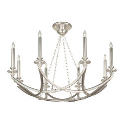 Fine Art Lamps - Liaison Silver Pendant, 860240-2ST - Graceful arcs of handcrafted metal hoist eight delicate tapers to illuminate your favorite formal setting with style. Choose a platinized silver leaf or antique hand-rubbed bronze finish.