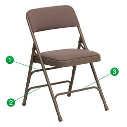Flash Furniture - Flash Furniture Hercules Series Beige Fabric Upholstered Metal Folding Chair - The Triple Braced Hercules Series Folding chairs are our best folding chairs ever. When in need of temporary seating this heavy duty beige metal frame chair with beige fabric padded seat and back is perfect. This portable folding chair can be used for Parties, Graduations, Sporting Events, School Functions and in the Classroom. This chair will be the perfect addition in the home when in need of extra seating to accommodate guests. The chair will not take up anywhere near as much space as chairs that cannot fold when it comes time to clean up. This economically priced chair will endure some heavy usage with an 18-gauge steel frame, triple braced and leg strengthening support bars. [HA-MC309AF-BGE-GG]