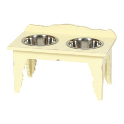 """Medium """"Shabby Chic"""" Elevated Dog Feeder - From cottage to castle, shabby chic distressed furniture creates a casual, yet comfortably elegant home. We expect you to be dazzled by the color palette and the intricate woodwork of this adorable Shabby Chic pet diner. Created of solid Mango hardwood each unique piece is carefully distressed by using a multi-step finishing process to achieve the look of an aged antique."""