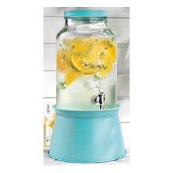 Home Essentials - Vintage Mason Jar Drink Dispenser with Blue Metal Base - Inspired by vintage style mason jars, our country chic glass drink dispenser is the perfect way to serve ice-cold lemonade, mineral water, fresh juice, or any beverage of your choice. With this nostalgic piece, you can easily turn backyard barbecues, picnics, and dinner parties into long-lasting memories. Its attractive blue galvanized metal stand conveniently converts to an ice and wine bucket, and elevated the mason jar for easy serving and entertaining. Whether you're hosting a backyard barbecue, summertime soiree, or winter wedding reception, our vintage glass drink dispenser will surely be the life of the party!