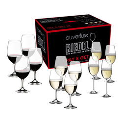 Riedel - Riedel Ouverture Red/White Magnum and Champagne Pay 8 Get 12 Glasses - Set of 12 - Riedel's entry level series for customers who appreciate good, reasonably priced wine. Ouverture is a non-varietal specific collection of (lead-free) glasses that will increase the owner's drinking pleasure. Machine-blown in Bavaria Germany. Included in this set:(4) Red/White wine glasses (4) Magnum glasses (4) Champagne glasses