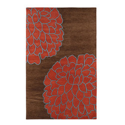 """Artist Studio ART206 Brown Rug - 3'3""""x5'3"""" - Artist Studio ART-206 Brown: This rug was designed to fill the home with line, style, taste, and color. Hand made with 100% triple carded New Zealand wool with a plush 3/4"""" pile and carved between colors for added texture. before making your selection. his Contemporary area rug is Hand Tufted in India with 100% New Zealand Wool. The specific colors of this rug include Brown, Sky, Coral Red. he primary color of this rug is brown."""