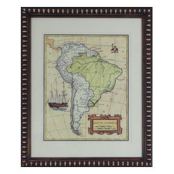Consigned Vintage Nautical Map Artwork, Version 1 - Vintage nautical print of map of South America.