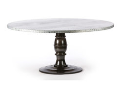 """Kingston Krafts - Round Zinc Top Dining Table """"The Providence"""", 68 Inch Diameter - Natural elements and sophistication come to life to honor a traditional and classic design with a twist of contemporary edge. Our Providence zinc dining table is 1.5 inch thick zinc top with an aged patina finish paired with a solid ash wood base. Finished by hand by New England artisans in an glossy espresso finish."""