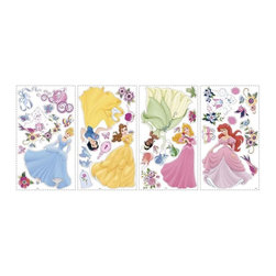 RoomMates Peel & Stick - Princess Wall Decals - Celebrate the royalty, enchantment, and romance that Disney Princess characters bring to a little girl's room with this beautiful set of wall stickers. Featuring Ariel, Tiana, Cinderella, Belle, Aurora, and Snow White, these charming decals are the perfect thing to dress up your little princess's royal quarters. You can even add some sparkle to each princess by using the included 47 peel and stick gems on their dresses, accessories, or even right on the wall! Pairs perfectly with our peel and stick border, or any of our giant Disney Princess wall decals.