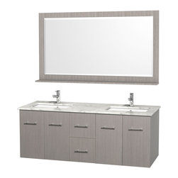 Wyndham Collection - Wall Mounted Vanity Set in Gray Finish - Includes mirror. Faucet not included. Four functional doors. Two functional drawers. Twelve stage wood preparation, sanding, painting and finishing process. Highly water resistant low V.O.C. sealed finish. Unique and striking contemporary design. Modern wall mount design. Deep doweled drawers. Fully extending under mount soft close drawer slides. Concealed soft close door hinges. Single faucet hole mount. Plenty of storage space. Plenty of counter space. Matching mirror with shelf. Square porcelain undermount sinks. 5 in. thickness. Engineered to prevent warping and last a lifetime. Made from environmentally friendly zero emissions solid oak hardwood. Exterior hardware with brushed chrome finish. Minimal assembly required. Mirror: 58 in. W x 33 in. H. Vanity: 60 in. W x 22.25 in. D x 22.75 in. H. Care Instructions. Assembly Instructions - Vanity. Assembly Instructions - Counter Top. Assembly Instructions - Sink. Mirror Installation GuideSimplicity and elegance combine in the perfect lines of the Centra vanity by the Wyndham Collection. If cutting-edge contemporary design is your style then the Centra vanity is for you - modern, chic and built to last a lifetime. The attention to detail on this beautiful vanity is second to none.