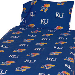 College Covers - NCAA Kansas Jayhawks Collegiate Blue Twin X-Long Bed Sheets - Features:
