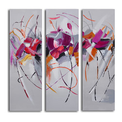 Fuschia frolicking flower triptych Hand Painted 3 Piece Canvas Set - Good things happen in threes. This modernist rendering of flowers deconstructed makes a delightful addition to any room in your home. Painstakingly created by a single artist, utilizing acrylics on canvas, this installment arrives ready to hang and will exhibit subtle differences from other paintings, due to its handcrafted nature.