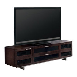 BDI - BDI Avion II Quad-Wide Cabinet TV Stand in Espresso Stained Oak - BDI - TV Stands - 8929 ES - The BDI Avion II Quad-wide enclosed cabinet TV Stand is the perfect center for a large home theater system. Featuring a wide base and center cabinet capable of holding a speaker this piece has tons of storage for your components and all the management features you need for a clean looking centerpiece for your living room.