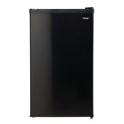 "Danby - 3.3 cu.ft. compact refrigerator, black - 3.3 cu. ft. (92 L) capacity compact refrigerator, Separate 0.34 cu. ft. (9.63 L) freezer for superior performance, Energy Star� compliant, Manual defrost, Mechanical thermostat, 2 full wire shelves for maximum storage versatility, CanStor beverage dispenser, 2 L bottle storage, Integrated door shelves, Reversible door hinge for left or right hand opening, Smooth back design for flush fit against walls, unit dimensions 18 1/2"" W x 14"" D x 28 15/16""H"