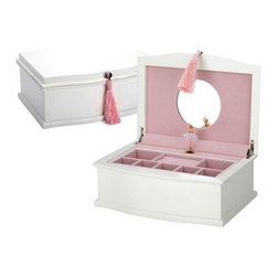 "Reed & Barton Ballerina Musical Jewelry Box - 11.25W x 4.5H in. - The Reed & Barton Ballerina Jewelry Box will dance its way into your favorite little girl's heart. Constructed of wood veneer over composite wood this delightful jewelry box is perfect for holding her most prized treasures. Open the top to reveal a mirrored lid and a tiny ballerina that pirouettes to the ""Nutcracker Suite."" The musical key is conveniently located in the back of the chest. This girls jewelry box features a lift-out upper tray with divided sections for rings and earrings. There's additional storage in the bottom compartment for bracelets necklaces and more. This lovely jewelry box has a gently curved design decorative molding and pearl white finish. The interior features soft pink flocked lining. Decorative nickel-finished hardware and a silky pink tassel complete the look.About Reed & Barton/Eureka Mfg.Founded in 1824 Reed & Barton enjoys a reputation as one of the country's foremost marketers of fine tableware and giftware. Recognized for design excellence and the highest quality workmanship Reed & Barton offers an array of exceptional products that satisfy a broad range of tastes. Today the Reed & Barton name graces fine flatware dinnerware crystal giftware and picture frames as well as a wide variety of expertly made hand-crafted flatware and jewelry chests. For more than 183 years our products have been the choice of those with discriminating taste. Our unwavering commitment to quality and customer satisfaction can be found in every product that bears the Reed & Barton name.Attention California Residents - Proposition 65 Warning: Consuming foods or beverages that have been kept or served in leaded crystal products or handling products made of leaded crystal will expose you to lead a chemical known to the State of California to cause birth defects or other reproductive harm."