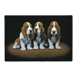 461-Basset Puppies Doormat - 100% Polyester face, permanently dye printed & fade resistant, nonskid rubber backing, durable polypropylene web trim. Use on the porch or near your back entrance to the house. Indoor and outdoor compatible rugs that stand up to heavy use and weather effects