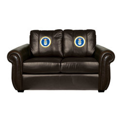 Dreamseat Inc. - US Air Force Coat of Arms Chesapeake Black Leather Loveseat - Check out this Awesome Loveseat. It's the ultimate in traditional styled home leather furniture, and it's one of the coolest things we've ever seen. This is unbelievably comfortable - once you're in it, you won't want to get up. Features a zip-in-zip-out logo panel embroidered with 70,000 stitches. Converts from a solid color to custom-logo furniture in seconds - perfect for a shared or multi-purpose room. Root for several teams? Simply swap the panels out when the seasons change. This is a true statement piece that is perfect for your Man Cave, Game Room, basement or garage.