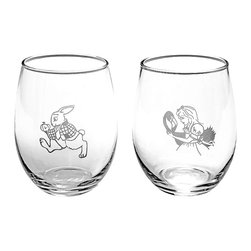 Cardew Design - Alice in Wonderland White Rabbit Stemless Wineglass Set - Drink me! Potions (or wines) taste better when there's a dash of whimsy involved. This wineglass set has two unique etchings that make it an ideal gift for the literary-minded wine lover in your life.   Includes two wineglasses Holds 21 oz. Porcelain Hand wash Imported