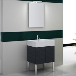 Iotti - 24 Inch Bathroom Vanity Set - Big performance in a small package, this minimalist vanity set has contemporary lines that enhance the hard-working performance in your busy bathroom. Available in three striking finishes: Glossy White, Wenge and Gray Oak. Built with Earth friendly paneling, you are assured of ultra low emissions of pollutants. Fitted with a white ceramic sink, you get plenty of up-front shelf space and storage underneath in the vanity cabinet. A vertical, scratch and corrosion resistant mirror with light completes the set. Imported from Italy. Set Includes: . Vanity Cabinet (2 doors). Fitted ceramic sink (23.6 inch x 5.7 inch x 18.3 inch ). Medicine cabinet (23.2 inch ). Vanity Light (11.8 inch ). Vanity Set Features:. Vanity cabinet made of engineered wood. Cabinet features waterproof panels. Available in Grey Oak (as shown), Glossy White, Wenge. Cabinet features 2 doors. Faucet not included. Perfect for modern bathrooms. Made and designed in Italy. Includes manufacturer 5 year warranty.