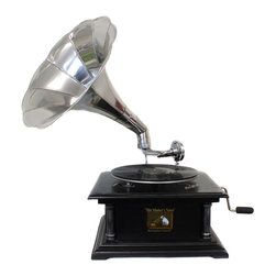 ecWorld - Antique Replica RCA Victor Phonograph Gramophone with Large Silver Metal Horn - Handcrafted in India using quality dark pinewood for the box casing, and real brass for the horn.