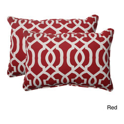 Pillow Perfect - Pillow Perfect Outdoor New Geo Corded Oversized Rectangular Throw Pillow (Set of - Add a touch of comfort and style to your outdoor furnishings with this set of Pillow Perfect Outdoor New Geo Corded Oversized Rectangular Throw Pillows. These durable,outdoor pillows are super soft to the touch due to their plush polyester filling.