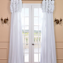 White Ruched Faux Solid Taffeta Curtain - We've taken our popular Faux Silk Taffeta panels and added a ruched header valance creating the most luxurious, over the top style in window treatments out there. This style was designed and meant to be stationary and used as decorative panels to frame out your window.