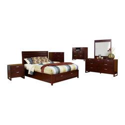 Alpine Furniture - Camarillo 6 PC East King Platform Bed with Storage Footboard - Camarillo 6 PC Eastern King Platform Bed with Storage Footboard