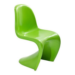 """LexMod - Slither Dining Side Chair in Green - Slither Dining Side Chair in Green - Sleek and sturdy, rock back and forth in comfort with this injection molded marvel. Constructed from a single piece of strong ABS plastic, the s shaped Slither chair can be found in many fashionable settings. Perfect for dining areas in need of a little zest, the design is versatile, fun and lively. Surprisingly cushy, choose from a selection of vibrant colors that wont fade over time. Slither is also perfect for spaces short on room. Set Includes: One - Slither Chair Tough ABS Construction, Stackable up to 4 High, Ergonomically Designed Overall Product Dimensions: 23""""L x 19""""W x 33""""H Seat Height: 18""""H - Mid Century Modern Furniture."""