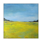 Abstract Landscape Modern Minimalist Acrylic Painting on Canvas - 40x40 Yellow,, - Large Abstract Landscape Painting on Canvas