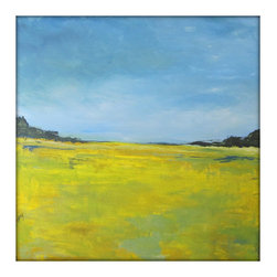 """Abstract Landscape Modern Minimalist Acrylic Painting on Canvas, 40"""" x 40"""" - Large Abstract Landscape Painting on Canvas"""