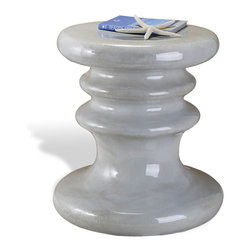 Kathy Kuo Home - Silverton Coastal Style Ceramic Pedestal Garden Stool - Make your own silver lining with this eclectic pedestal stool. The glazed gray ornate piece is the perfect size for a small seat, end table or display pedestal. Unique variations in color and texture make each stool a one-of-a-kind artwork.
