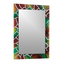 Decor Wonderland - Mosaic Frameless Bathroom Mirror - Includes mounting hardware. Rectangular shape. Double coated silver backing with seamed edges. Ready to hang vertically or horizontally. Wipe clean with damp cloth. Made from thick strong 3/16 glass and metal. 23.6 in. W x 31.5 in. H (20 lbs.)Accentuate your bathroom with color and class with the Mosaic Frameless Bathroom Mirror with seamed edge. This wall mirror can be used in your hallway, living room or bedroom. Beveled mirror with unique colors. Use only water or window-cleaner.