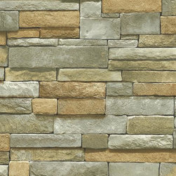 Blue Mountain - Ledgestone Wallpaper, Multi-Colored, Sample - Feel free to order a sample of this wallpaper to make sure it is the perfect fit for your room. You will be shipped a sample pattern that measures approximately  8 inches wide x 10 inches long.