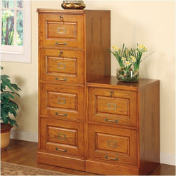"Wildon Home � - Paulina Four Drawer File Cabinet in Oak - Features: -Paulina Four Drawer File Cabinet. -Traditional style. -Hardwood solids and veneers in a golden oak finish. -Constructed from hardwood solids and veneers with oak or cherry finishes. -Desks include elegant turned post legs or double pedestal bases. -Antiqued brass finish hardware. -Select pieces feature locking drawers and shelves in varying sizes for maximum storage.. -Flat, simple tops provide a smooth surface for desks. -Overall Dimensions: 54.5"" H x 19"" W x 22.5"" D."