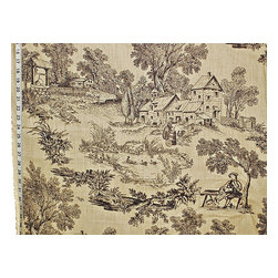 French farm toile fabric tan black toile dog fiddle Vervain, Standard Cut - A French farm toile fabric with a dog and fiddler! This Vervain fabric is not marked on the side.
