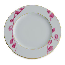 Michael Devine Ltd. - Charlotte Dinner Plate, Cyclamen - This graceful design, masterfully hand painted in France on Limoges porcelain by Marie Daage, is inspired by Michael Devine's hand printed fabric. The butterfly motif adds a note of whimsy to the pattern on the dessert plate, mug, breakfast cup and saucer, as well as the teapot. Each beautiful piece is accented in 24 karat gold.