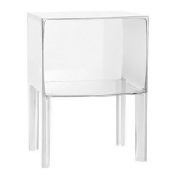 Kartell - Ghost Buster Night Table - Ghost Buster Night Table is available in a Transparent Clear Crystal, Transparent Straw Yellow,Transparent Violet, Transparent Red, Transparent Smoke Grey, Opaque Glossy Black or Opaque Glossy White.  Ghost Buster also plays with reflections and perspectives created by the alternating of the corners and curves over the entire surface. 15.75 inch width x 22.4 inch height.