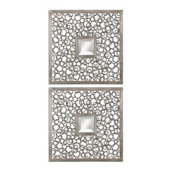 Uttermost - Colusa Squares Silver Mirror Set/2 - Elaborate yet simple, this set of two mirrors reflects your ability to see beauty in simplicity and an appreciation for art on a deeper level. The welded metal rings create a work of art around a small square mirror, creating a lovely play on shapes. Together as a display or separately in different rooms, these mirrors truly reflect beautiful design.